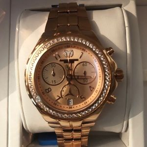 TechnoMarine ladies rose gold diamond bezel watch